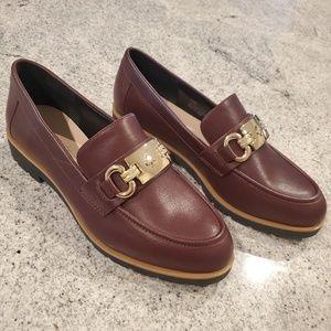 NWOB kate spade loafers gold buckle brown maroon